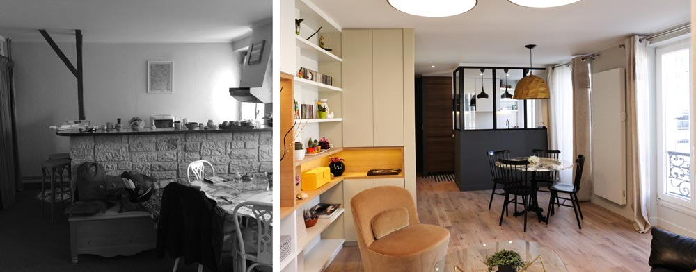 Avant - Apres de la rénovation d'un appartement rville