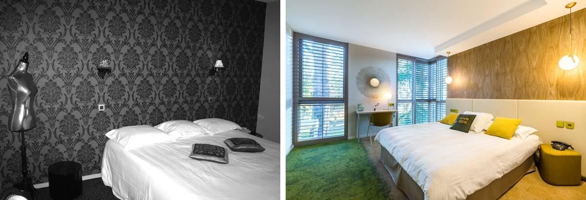Rénovation d'un hôtel 3 étoiles par un architecte d'intérieur en photo avant - après