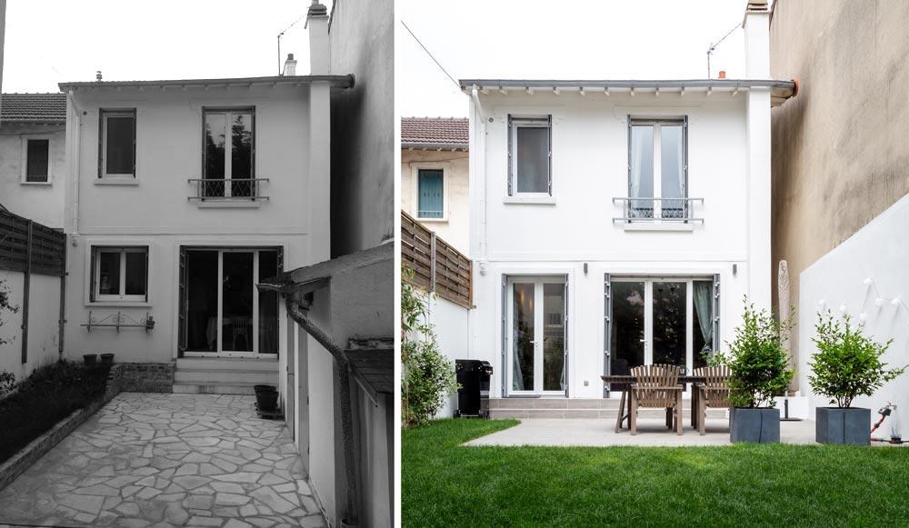 Rénovation de la facade d'une maison de ville rville