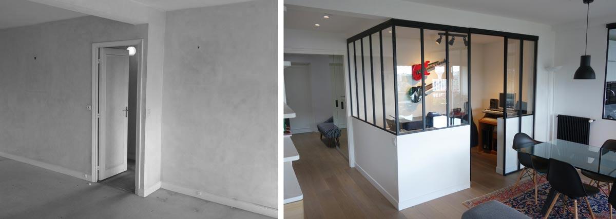 Réalisation d'un bureau séparé à domicile par un architecte rville