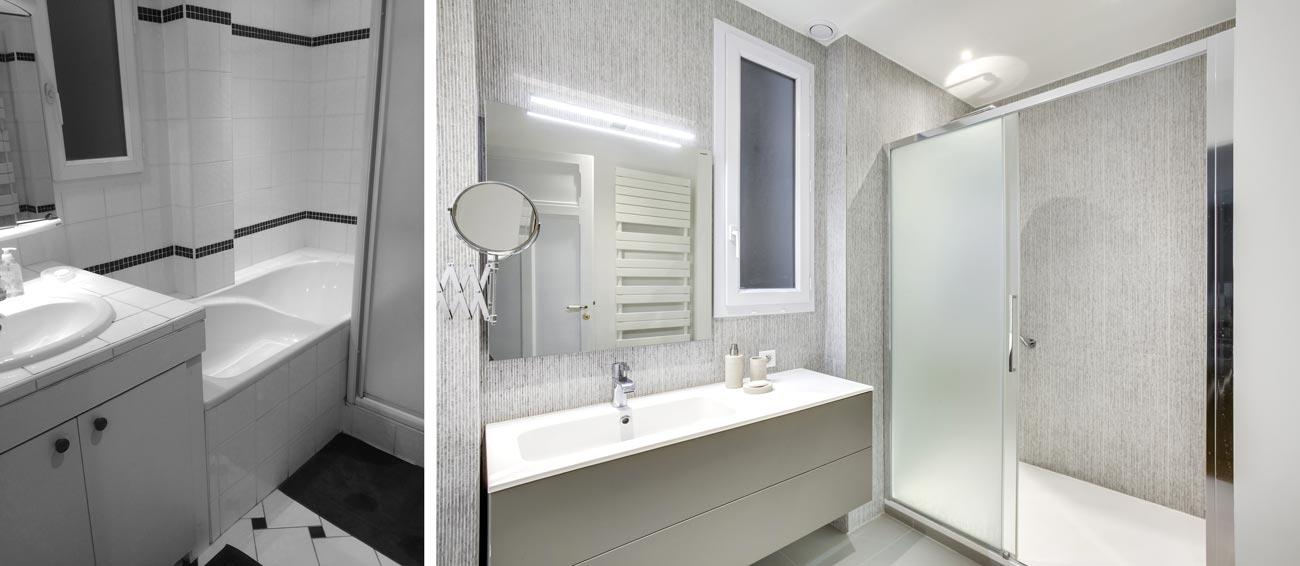 Rénovation de la salle de bain d'un appartement haussmannien en photo avant - après