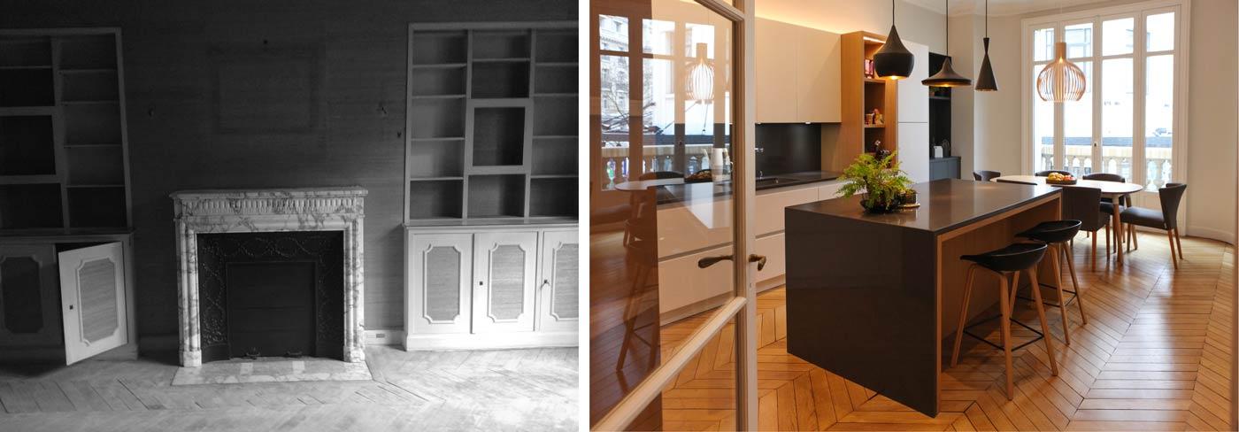 Aménagement d'une cuisine ouverte dans un appartement haussmannien à Paris 17