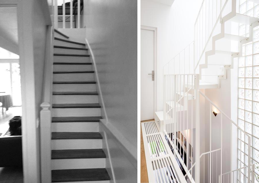 Aménagement d'un escalier 3 niveaux pour améner de la lumière dans une maison de ville