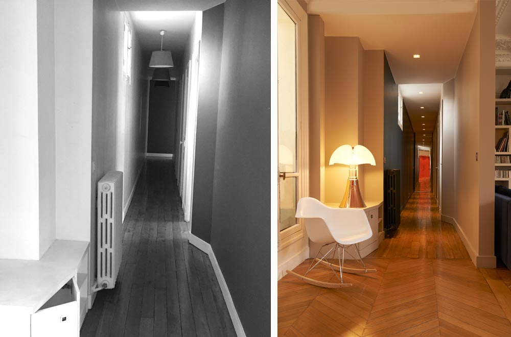 Couloir en trompe l'oeil dans un appartement haussmannien