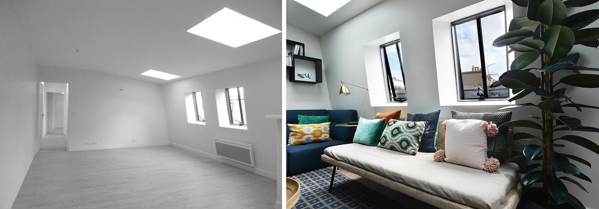 Décoration d'intérieur du séjour d'un appartement de 40m2 à Paris