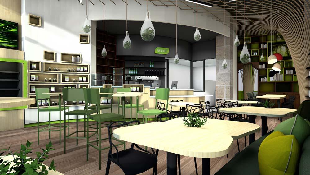 Vue 3D de l'aménagement interieur d'un coffee shop
