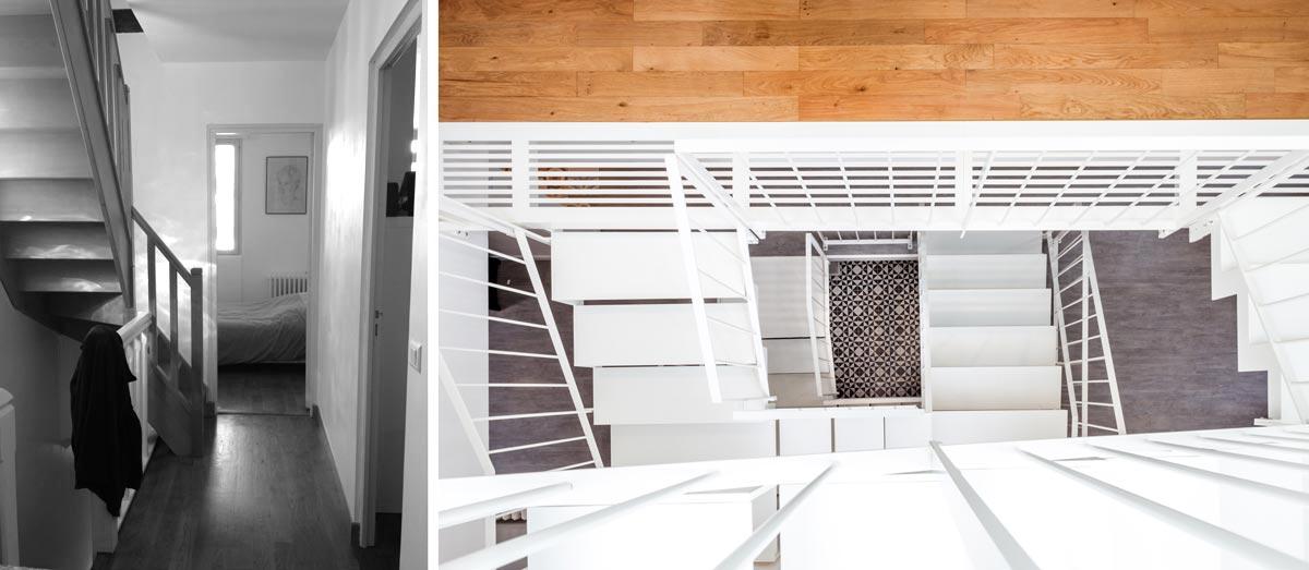 Photo avant - aprés de la création d'un escalier par un architecte d'intérieur rville