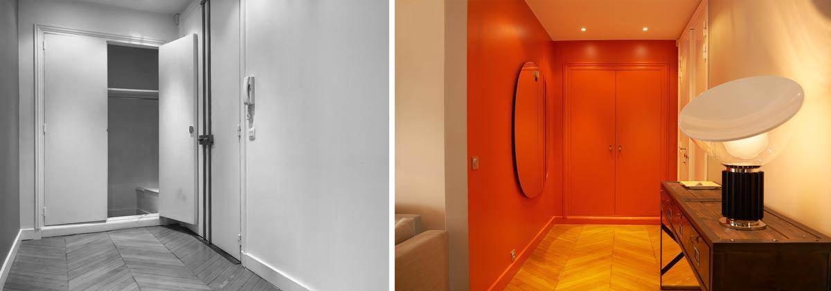 Entrée de l'appartement avec les murs de couleurs rouge et un choix de décoration de taille XXL