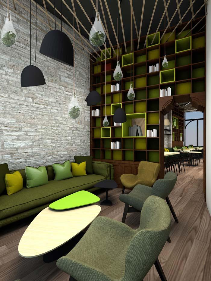 Projet de décoration d'intérieur d'un café réalisé par un architecte d'intérieur