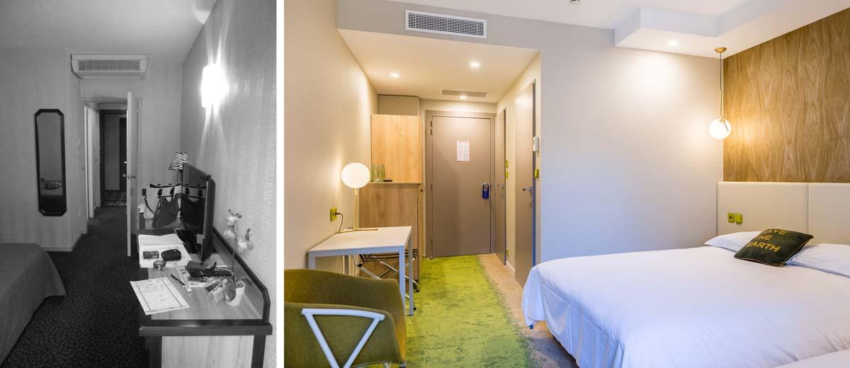 Présentation en photo avant - après de l'aménagement d'un hôtel 3 étoiles par un décorateur d'intérieur