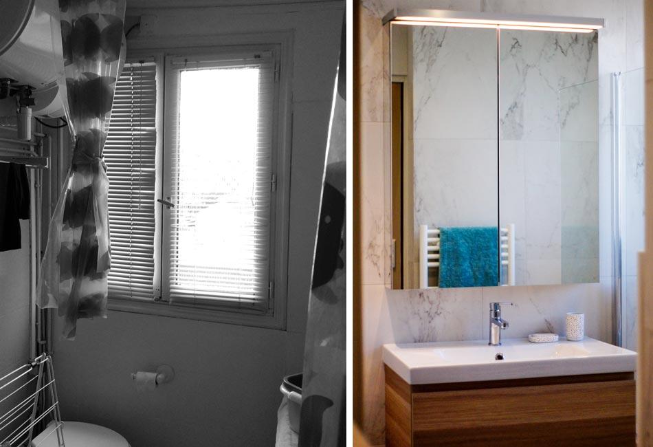 Avant - Après de la rénovation de la salle de bain