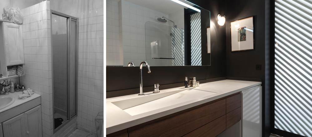 Avant - Après de l'aménagement d'une salle de bain dans un appartement 3 pièces