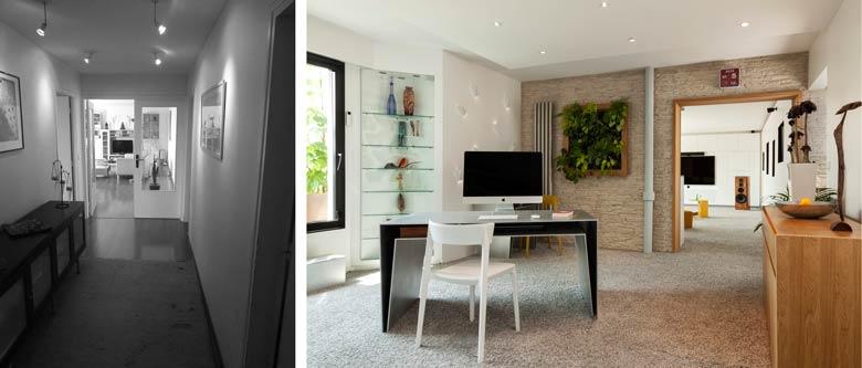 Aménagement intérieur d'une entrée d'un appartement avec un coin bureau