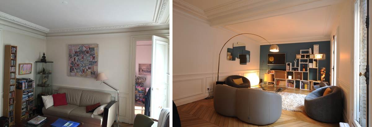 Aménagement intérieur d'une salle de séjour dans un appartement