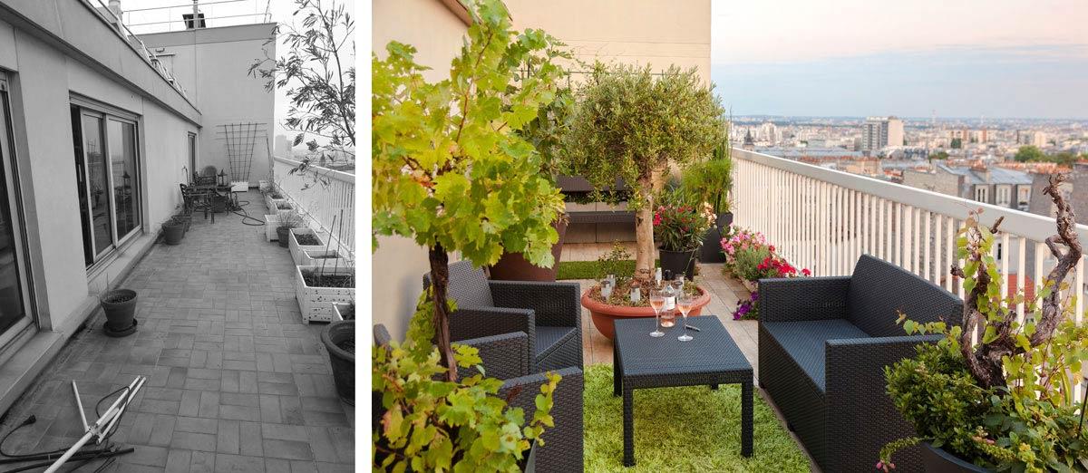 Aménagement d'une terrasse par un jardinier paysagiste rville
