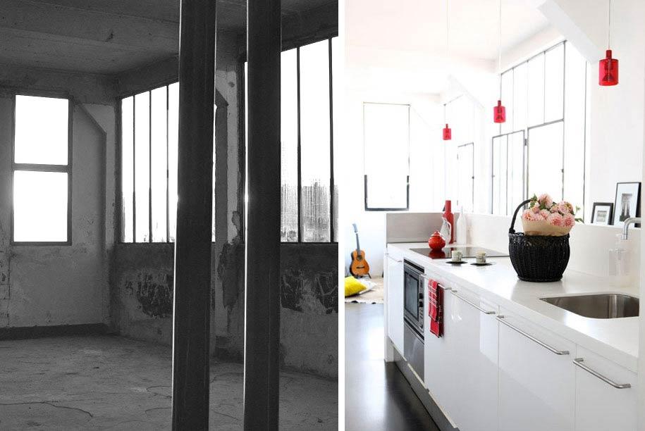 Aménagement cuisine d'un loft