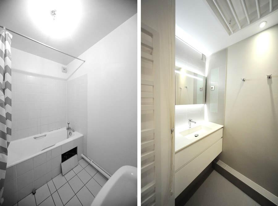 Photo avant aprés de l'aménagement d'une salle de bain