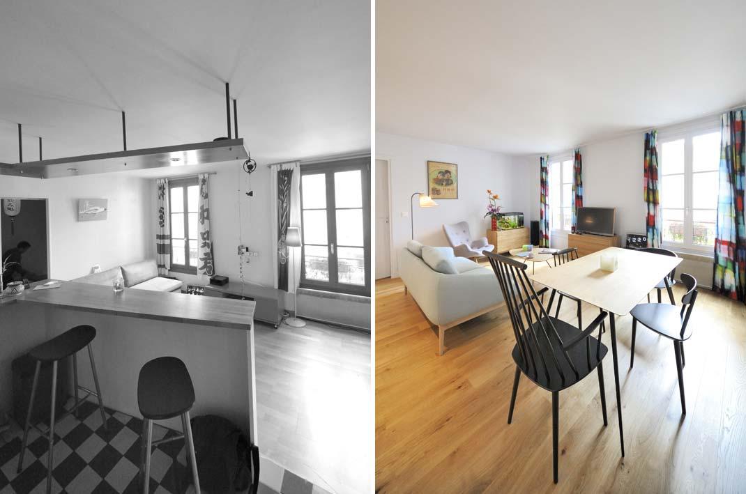 Avant après de la rénovation d'un appartement par un architecte d'intérieur