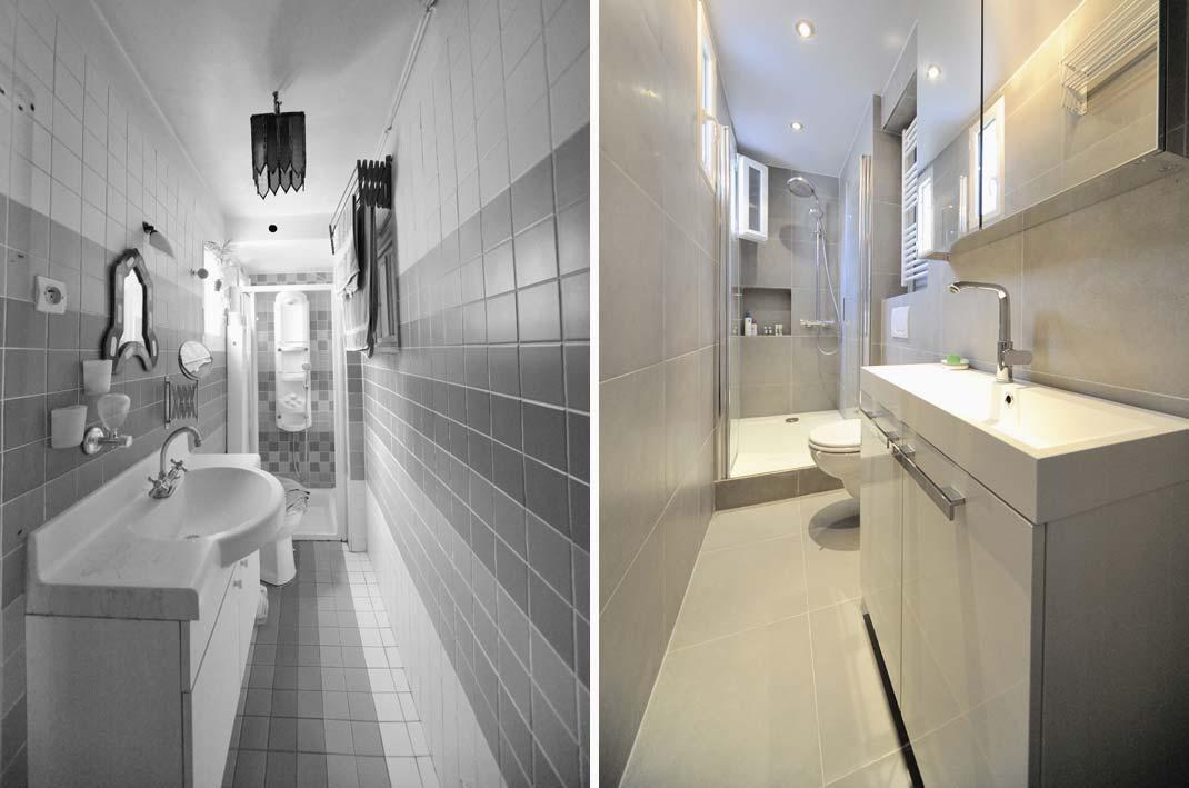 Rénovation d'une salle de bain étroite