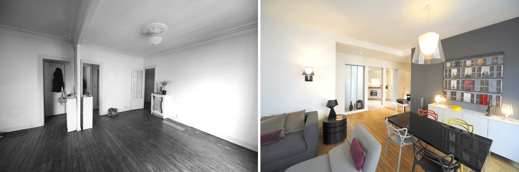 Avant apr s transformation d 39 un appartement de 65m2 du for Difference architecte d interieur et decorateur