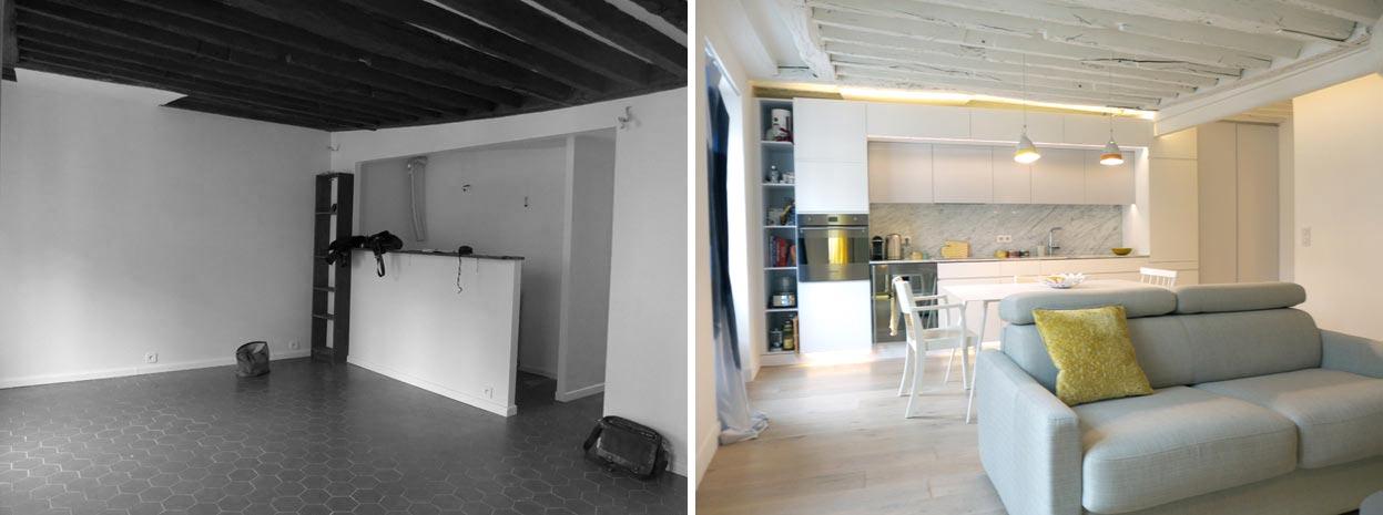 Photo avant - après d'un salon aménagé par un décorateur d'interieur rregion