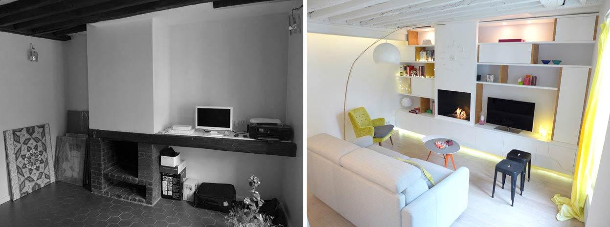 Architecture d'intérieur dans un appartement deux pièces rville.