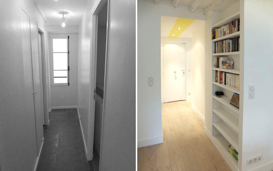 Un décorateur d'intérieur aménage une bibliothèque dans un appartement rregion.