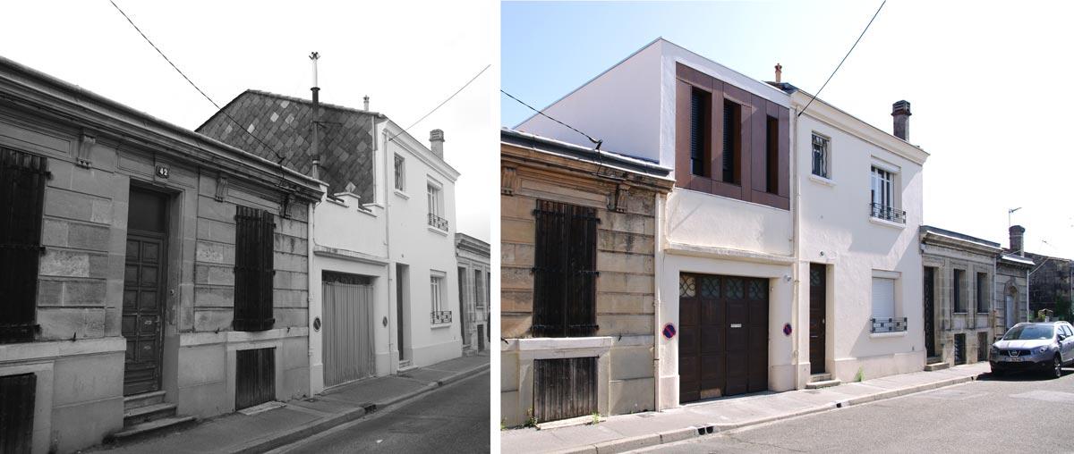 Avant - après : ajout d'une extension à une maison de ville [custom:ville]