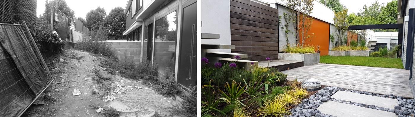 Photos avant - après de l'aménagement d'un jardin contemporain