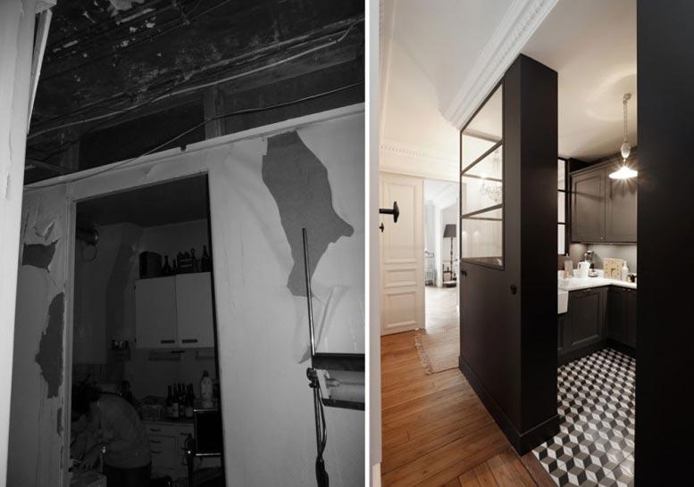 Avant Aprés d'une rénovation d'une cuisine dans un appartement rdepartement