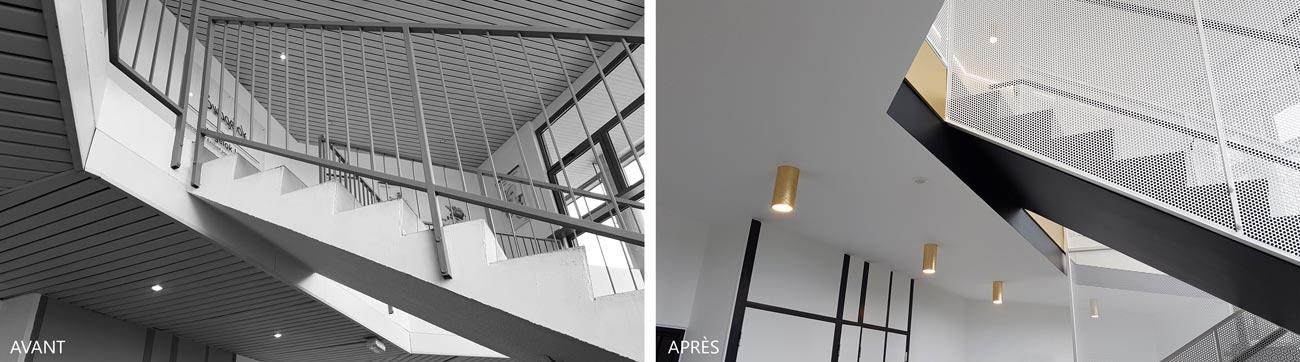 Avant - après : rénovation du hall de batiments de bureaux