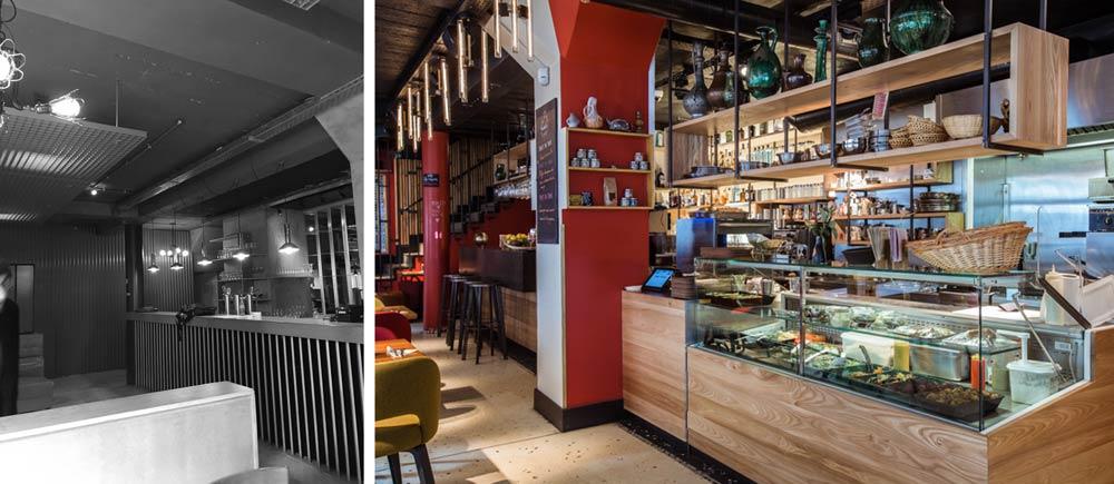 Photos avant - après de la rénovation de l'intérieur d'un restaurant - café - concert