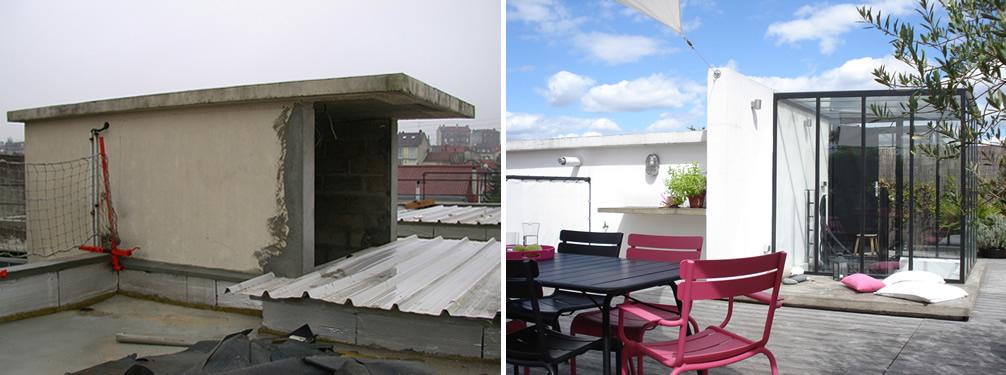 Avant apr s am nagement d 39 une terrasse sur le toit d for Pente d une toiture