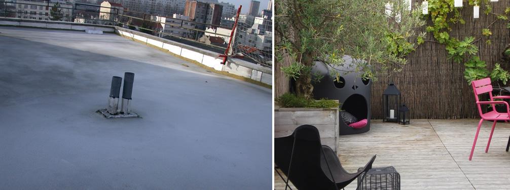 Avant apr s am nagement d 39 une terrasse sur le toit d for Jardinier bruxelles