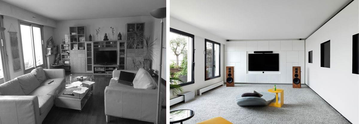 Décoration d'intérieur du sejour d'un appartement rville