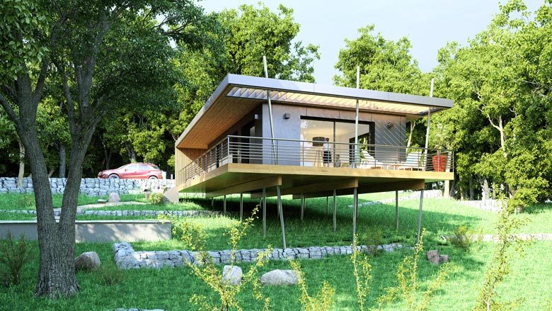 Pop Up House dans une village en Ardeche qui respecte les principes de l'écoconstruction