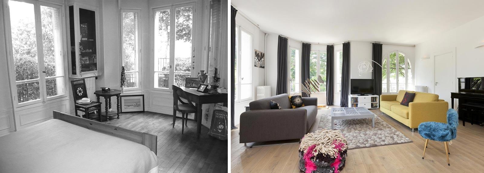 Décoration et relooking d'intérieur d'un salon d'une maison individuelle