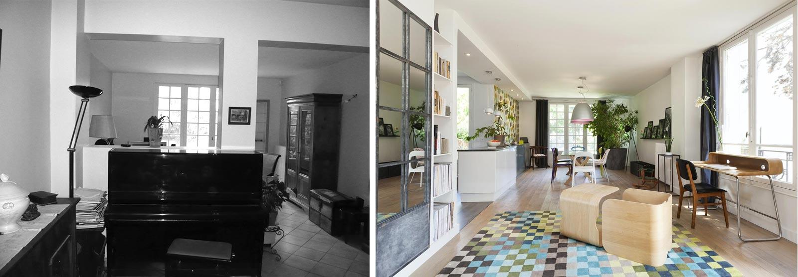 Relookibg d'intérieur du séjour : photos avant - après