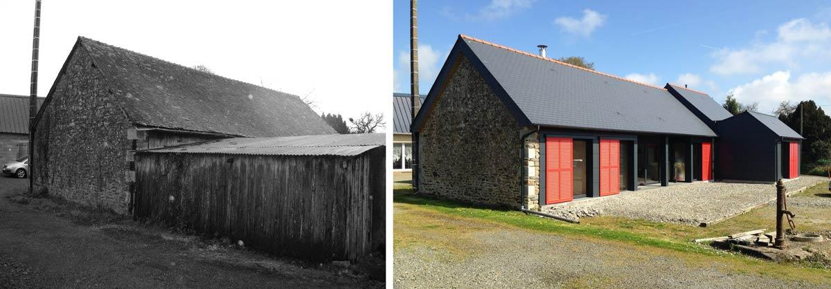 Rénovation d'un hangar dans une ferme, transformé en logement