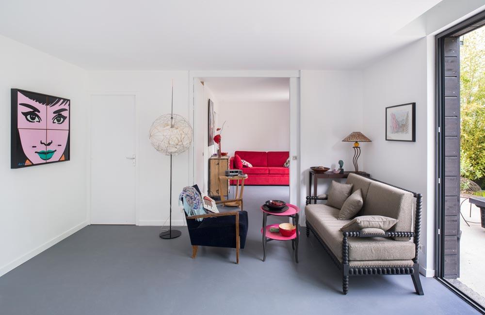 Salon de la maison de ville contemporaine réalisé par un architecte