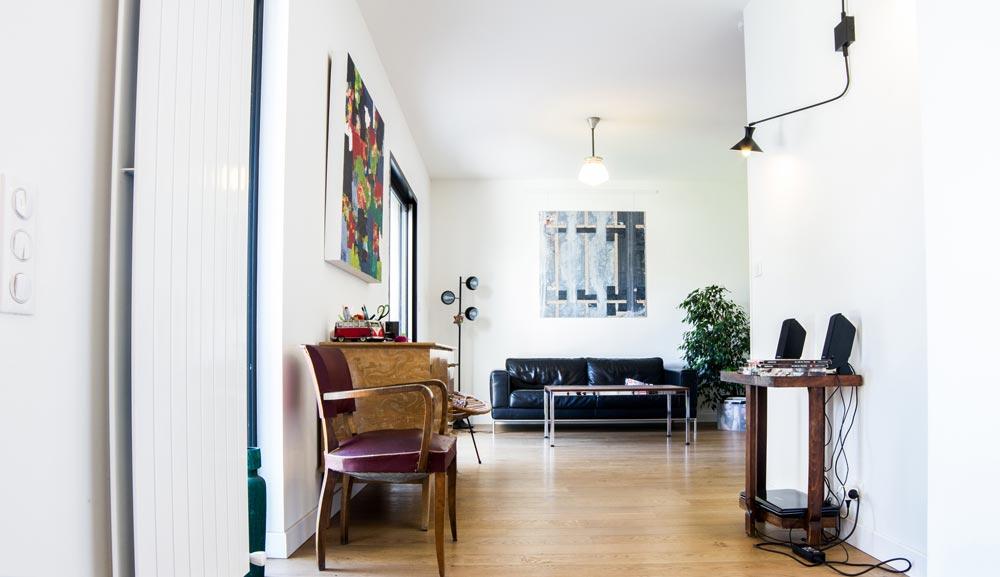 Salon de la maison rénovée par un architecte