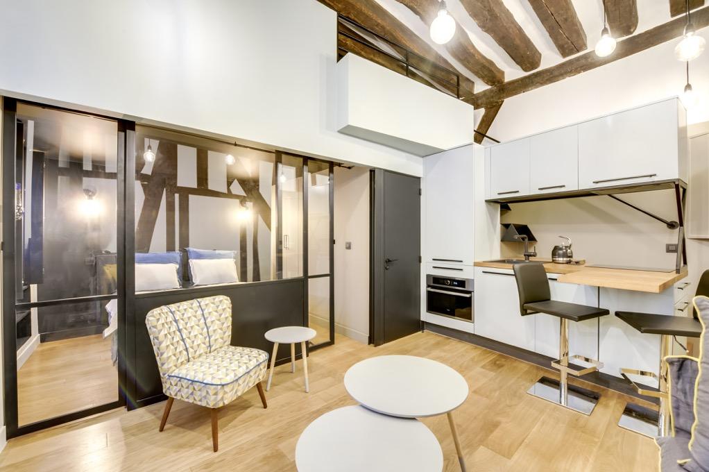 Transformation d un studio parisien en appartement 2 3 pi ces for Appartement atypique bruxelles