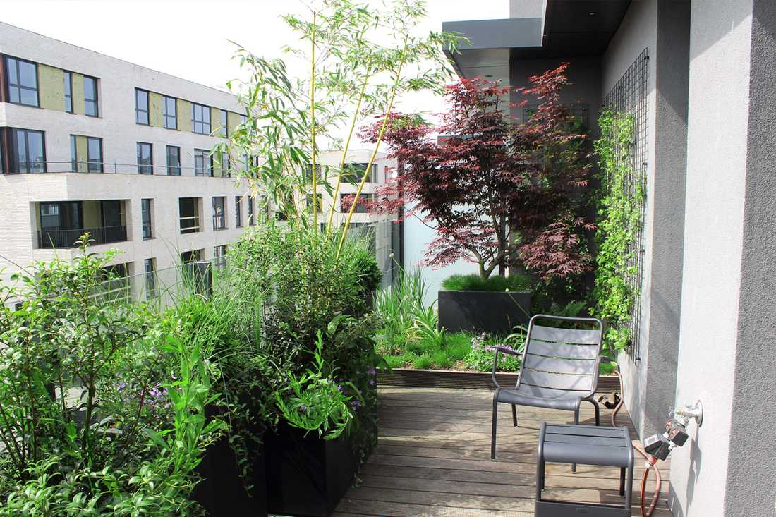 Landscaping of a penthouse terrace in Brussels